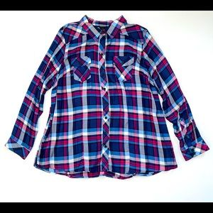 long sleeve button down paid shirt